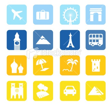 Travel icons and landmarks big collection - blue & yellow Royalty Free Stock Vector Art Illustration