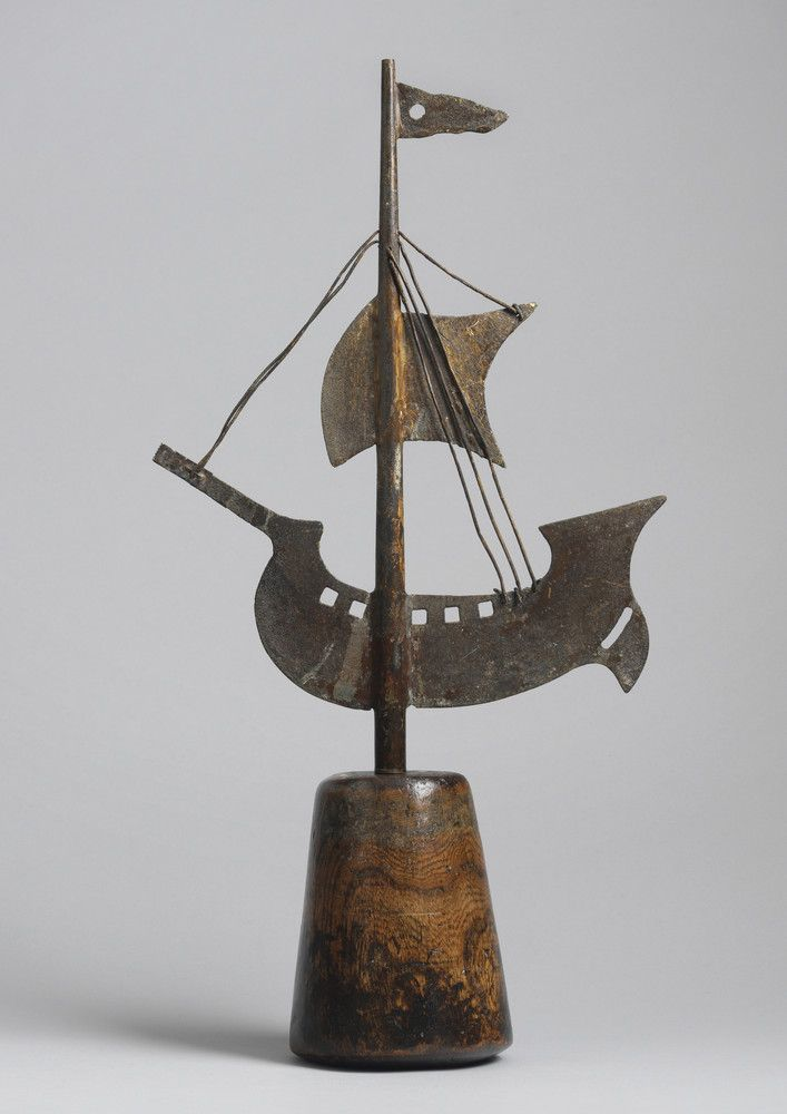 "Graphic Silhouette Galleon Form Weathervane (Sold) Of Unusual Small Scale Weathered Heavy Gauge Sheet Copper and Wire with Natural Patina and Verdigris Surface English, c.1840 21.75"" high x 11.50"" wide x 4.75"" deep (Ref: 36/15)"