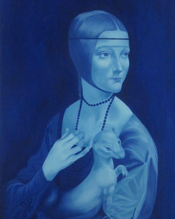 Lady with Ermine by Eren Çağdaş Karasu #Tuval üzerine #Yağlıboya / #Oiloncanvas 120cm x 165cm 5.000₺ / 1.450$  #gallerymak #sanat #ig_sanat #resim #tablo #yagliboya #mavi #portre #blue #sergi #sanatsal #gununkaresi #artgallery #portrait #contemporaryart #contemporarypainting #artcollector #artlovers #art #arte #kunst #oilpainting #painting #artforsale #artoftheday #modernart
