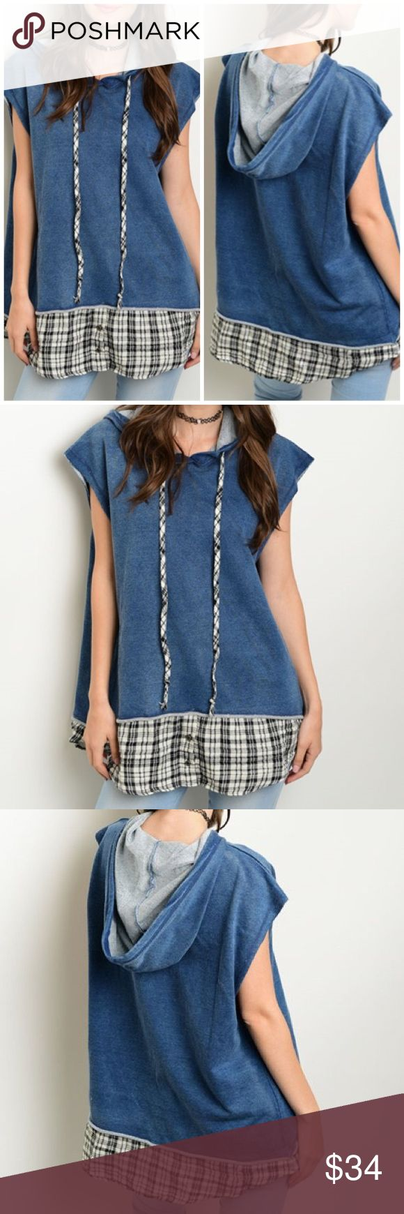 "Lightweight Slouchy Denim Top Denim oversized vest features plaid trim and drawstring detail. Made from 95% Cotton 5% Spandex.  Measures for small:  Length 31"" Bust: 46"" Bchic Tops"