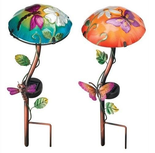 2 pack garden solar light mushroom stakes butterfly and dragonfly led lights picclickcom