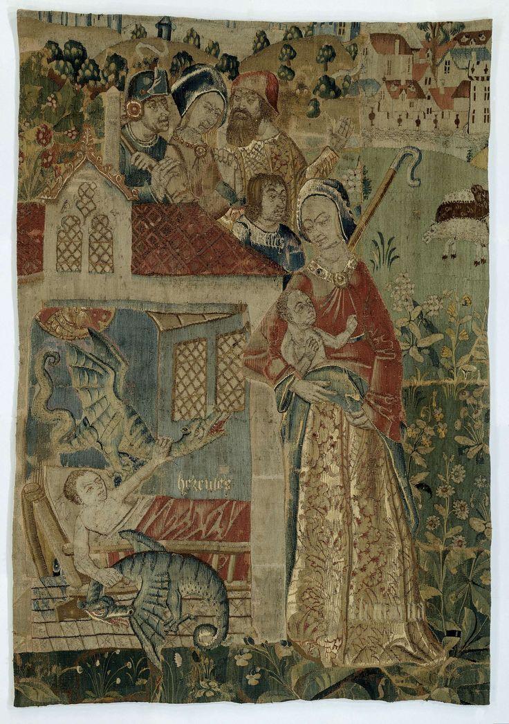 Anonymous | Hercules wurgt twee slangen in zijn wieg, Anonymous, c. 1485 - 1505 | Fragment van een wandtapijt met Hercules: de slangenwurging. In een landschap, met hoge bloeiende planten op groen fond is een inkijk in een blauwe kamer, waar op de tegelvloer een spijltjesbed staat met kind, volgens het opschrift, HERCULES. Boven Hercules een slang in de vorm van een blauwgroene draak, op de grond naast het bed de tweede dito, beiden rochelend onder de wurgende kracht van de handen van…