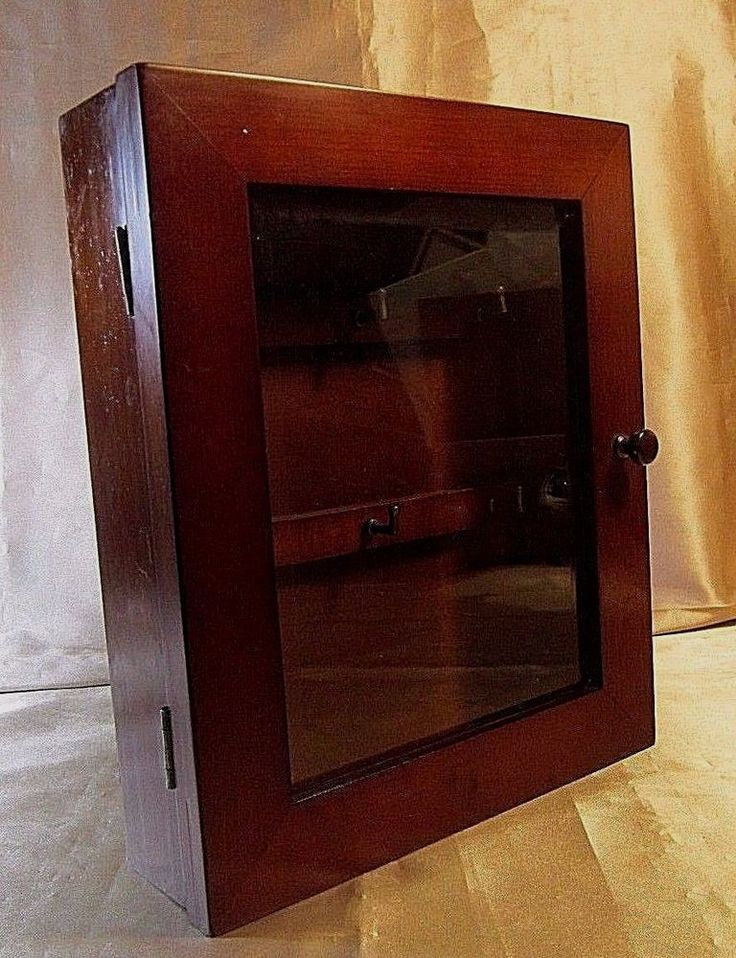 SOLID WOOD WALL MOUNTED KEY RACK CABINET Walnut Stain, Clear Glass Beveled Door #Unbranded #Traditional $34.99