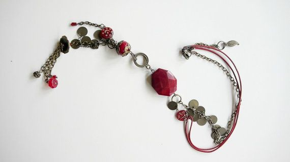 Cherry Charm // Ethnic Inspired Necklace with Red by Karakoncolos, $25.00  15% OFF VALENTINE'S DAY DISCOUNT in purchases over 7.5$ coupon code: LOVEDONES