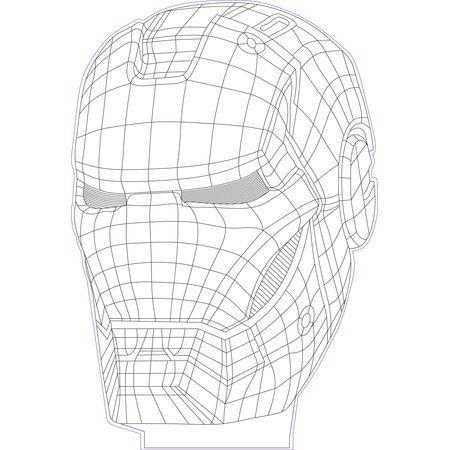 Iron Man 3d Illusion Vector File Acrylic Lamp Laser