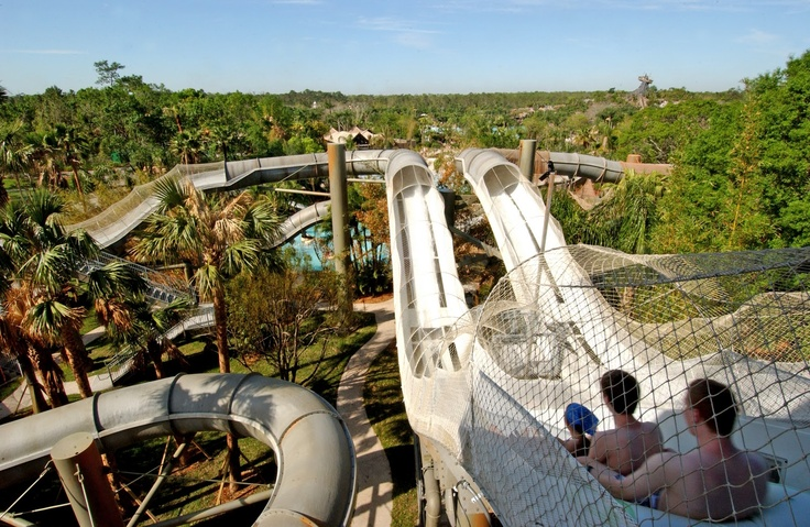 Grab a friend or 2 for Crush 'n' Gusher, a multi-passenger, roller-coaster-like raft ride, one of Disney's Typhoon Lagoon's signature attractions.