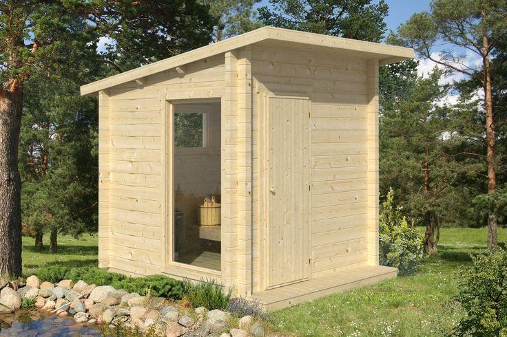 Maisemalöylyihin - Polhus-Sauna Tomi, 2020x2020x2283, 4m², 44mm, kiuas- ja laudepaketilla #netrauta #pihasauna