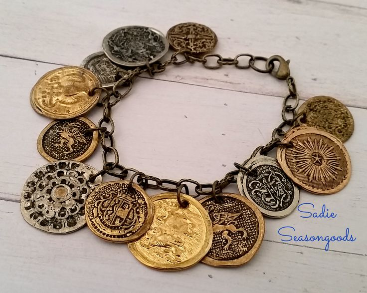 """""""Coined"""" Metal Button Jewelry by Sadie Seasongoods, featured on Funky Junk Interiors"""