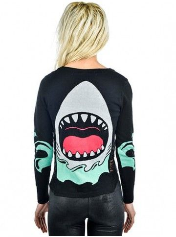 "Women's ""Jaws"" Side Slashed Cardigan by Banjo and Cake (Black)"