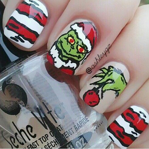 Grinch nails, Mr. Grinch nails, Christmas nails.