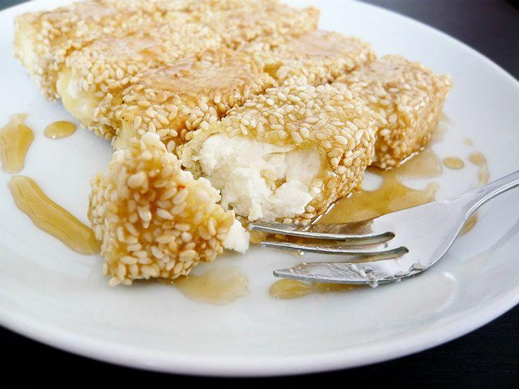 pan fried feta with sesame seeds and greek honey