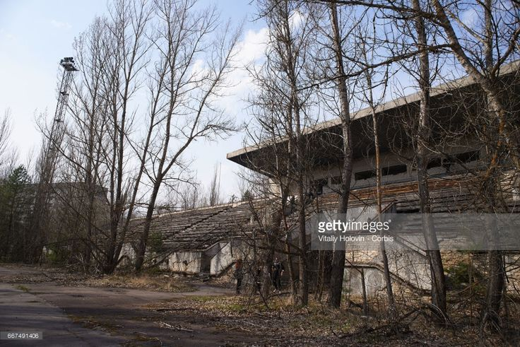 An abandoned stadium in the Pripyat, near the Chernobyl nuclear power plant in the Exclusion Zone, Ukraine, April 5, 2017. The Chernobyl nuclear accident occurred on 26 April 1986 in the No.4 light water graphite moderated reactor at the Chernobyl Nuclear Power Plant near Pripyat. An estimated 47,000 people of the city of Pripyat were evacuated after the explosion in 1986. Ukrainians marked the 31st anniversary of Chernobyl's tragedy on 26 April 2017.