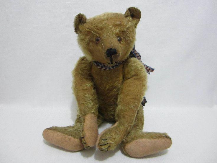 """STEIFF Antique Teddy Bear Center Seam 17"""" FF Button Glass Eyes Long Snout  #Steiff"""