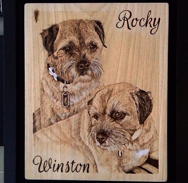 Dog portrait pyrography/ woodburning  By Martin peacock