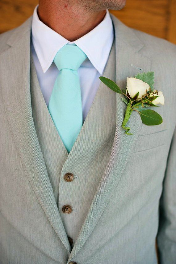 Mint tie, by HandmadeByEmy on etsy.com | The Merry Bride