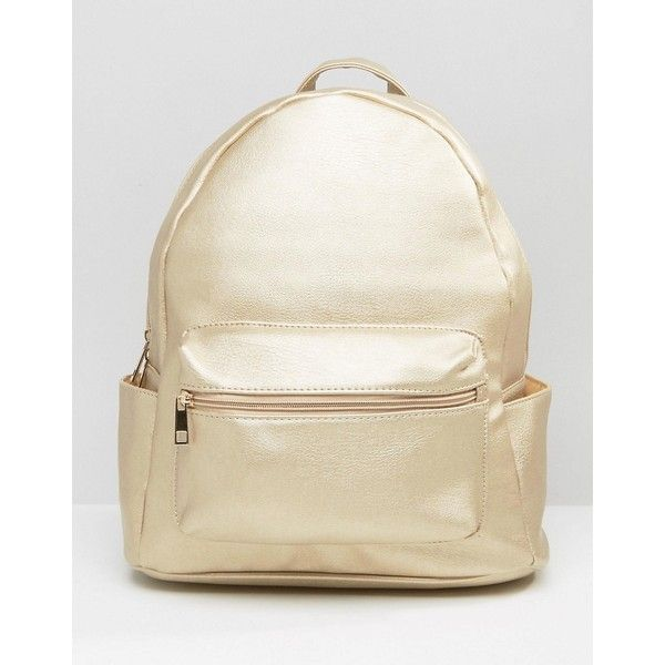 Daisy Street Metallic Backpack ($30) ❤ liked on Polyvore featuring bags, backpacks, gold, backpack bags, knapsack bag, metallic backpacks, day pack backpack and white bag