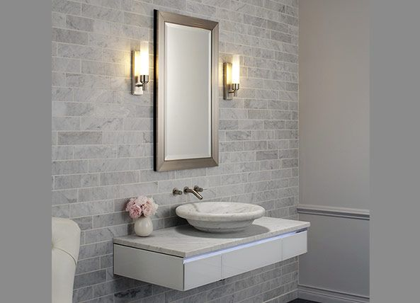 Robern   Métallique Cabinet And Sconces In Brushed Nickel Paired With 48