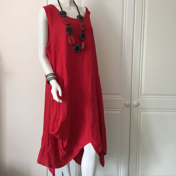 Dress in Linen Lagenlook Plus Size style by MB of Germany RED-Asymmetrical