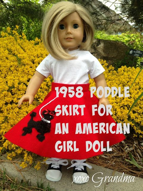 Free pattern & tutorial. 1958 Poodle Skirt for an American Girl Doll…