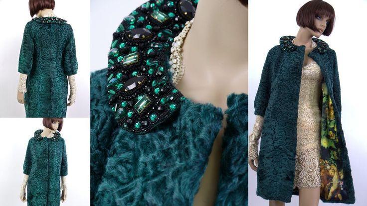 """Купить Шубка """"Меховые шедевры"""" - тёмно-зелёный, темно-изумрудный, каракуль, пальто из каракуля"""