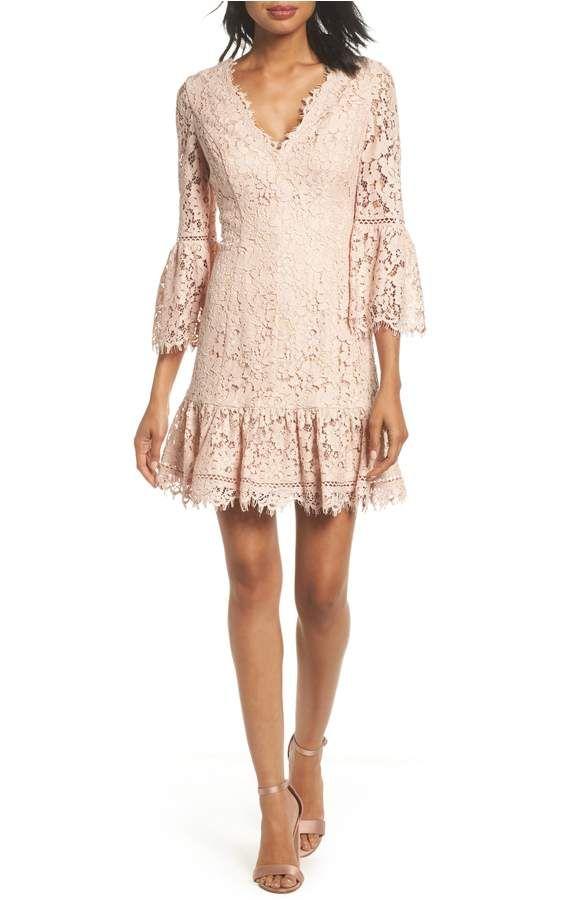 Eliza J Bell Sleeve Lace Cocktail Dress (Regular & Petite