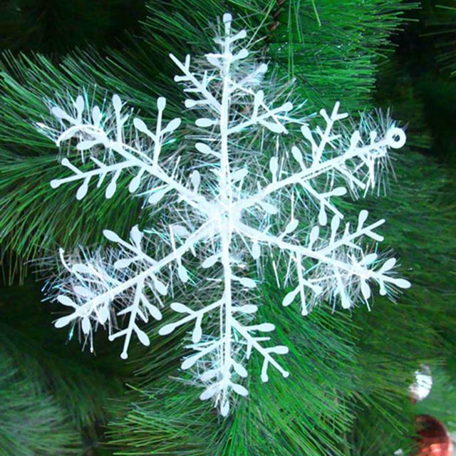 30 Pieces/Lot White Snowflake Ornaments Christmas Holiday Festival Party Home Decor XMas19