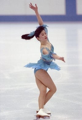 Kristi Yamaguchi does her routine during the women's figure skating competition at the Olympic Games in Albertville, France.