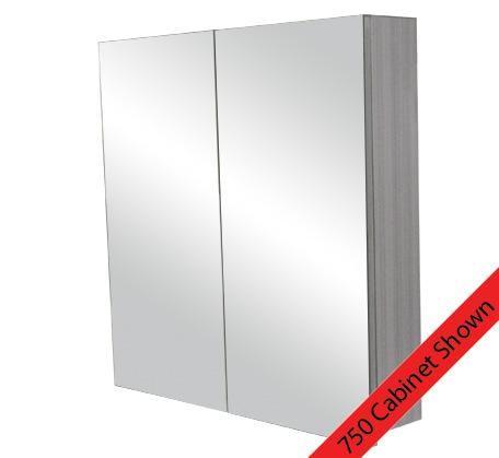 Logan 900 Mirror Door Shaving Cabinet - Grey Laminate   Bathroomware House