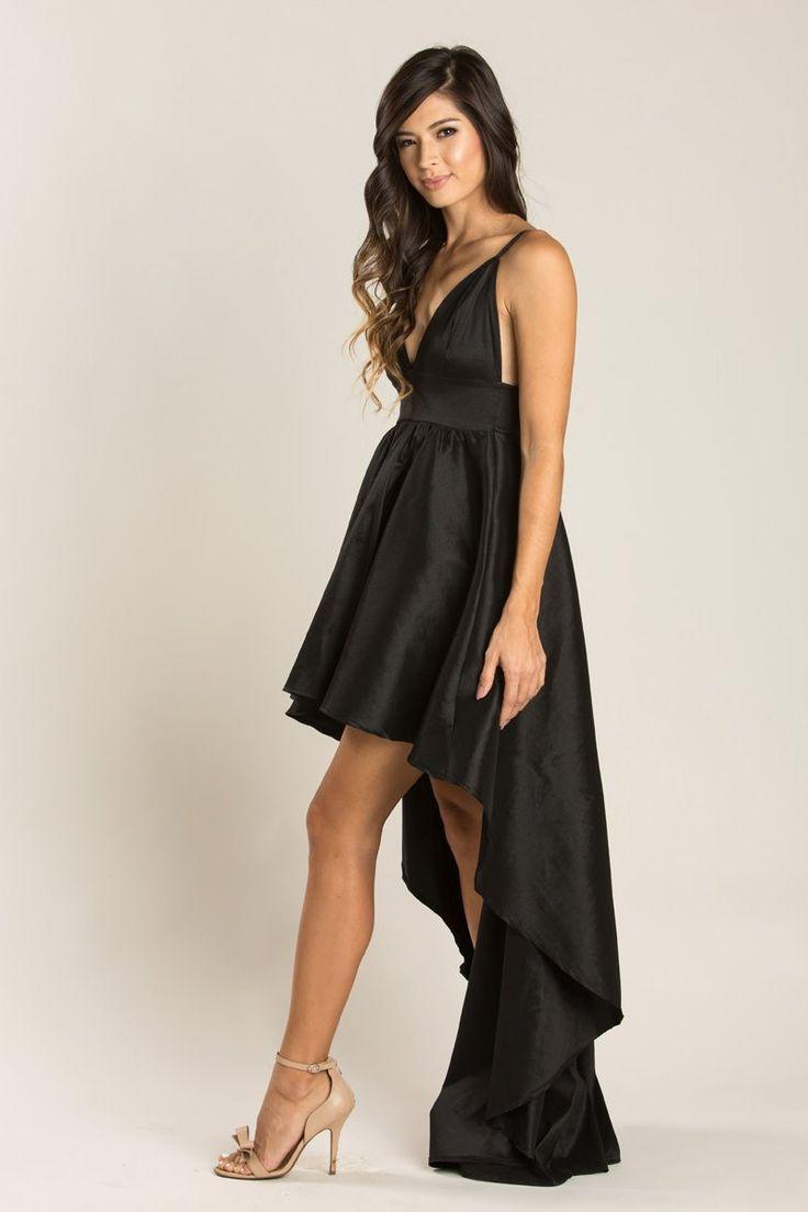 Lilianne Black Taffeta High Low Dress