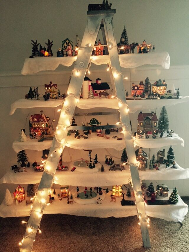 Christmas Village Ladder Decor Christmas Tree Village