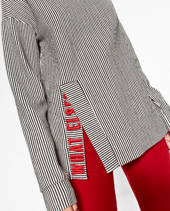 Image 3 of EMBROIDERED TEXT SWEATSHIRT from Zara