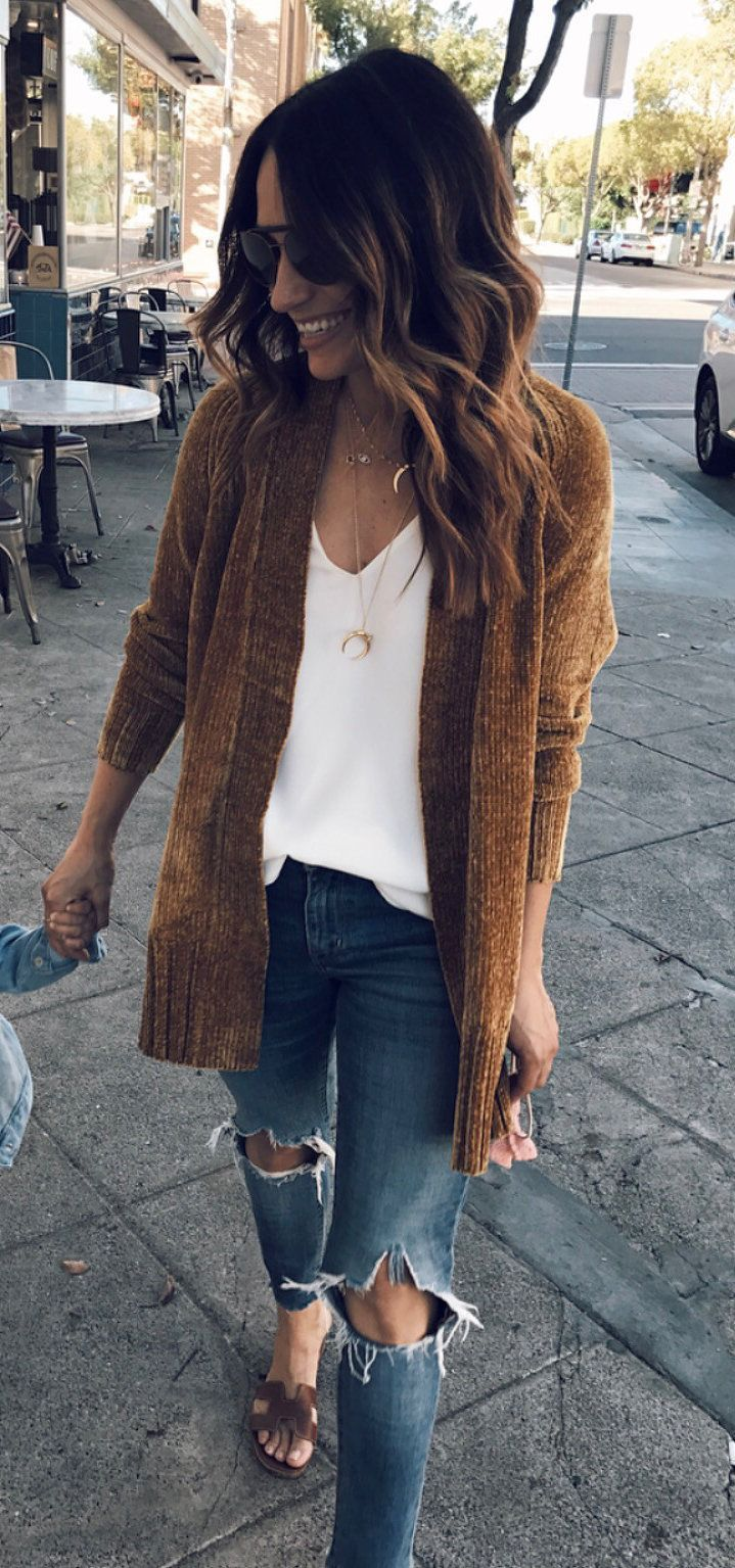 f0c40afd9a fall  outfits brown cardigan
