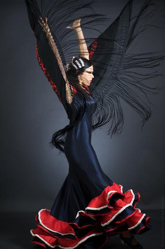 Flamenco Dress flamenco dance blue red and white por Khokhodesigns ♥ www.thewonderfulworldofdance.com #ballet #dance