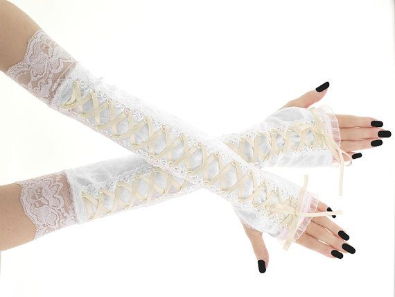 Bridal white velvet lace fingerless bridal by FashionForWomen