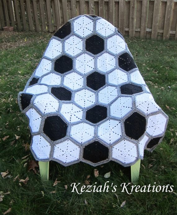 Crochet soccer blanket throw by KeziahsKreations on Etsy