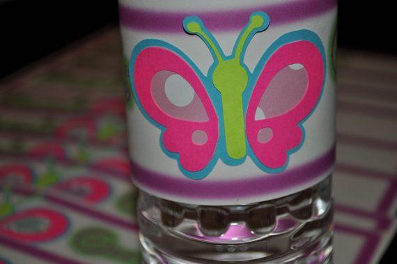 Butterfly Water Bottle Label