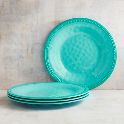 Beaded Turquoise Melamine Dinner Plate Set of 4 | Pier 1 Imports