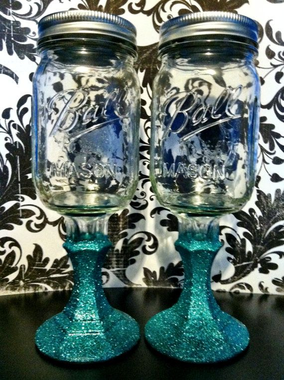 Glittered Mason Jar Wine Glass Hillbilly Wine by KashforKollege, $11.00