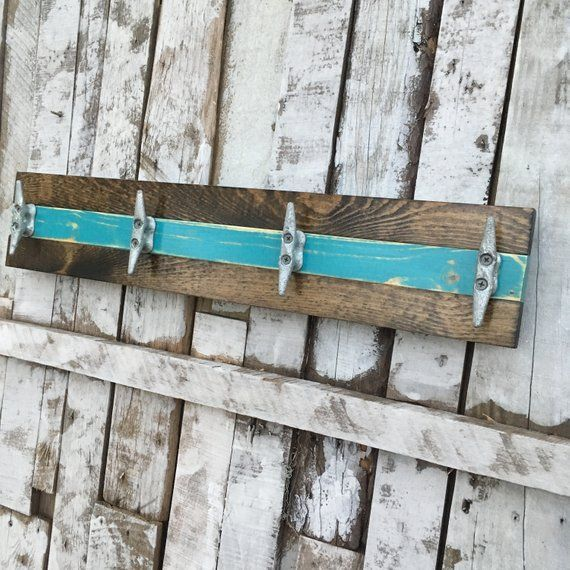 Boat Cleat Coat Rack Nautical Towel Rack Hat Rack Book Bag Rack Key Rack Distressed Teal And Dark Walnut Diy Hat Rack Bag Rack Boat Cleats