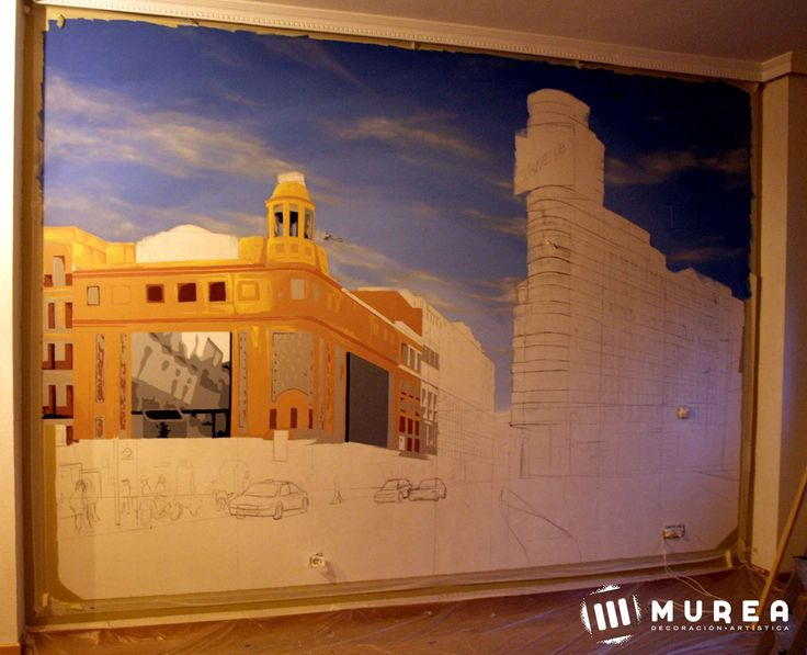 Primera parte de mural, con la imagen de la plaza de callao