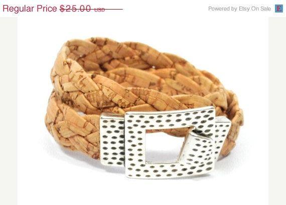 SALE braided cork bracelet with zamak  rustic cork by CozyDetailz
