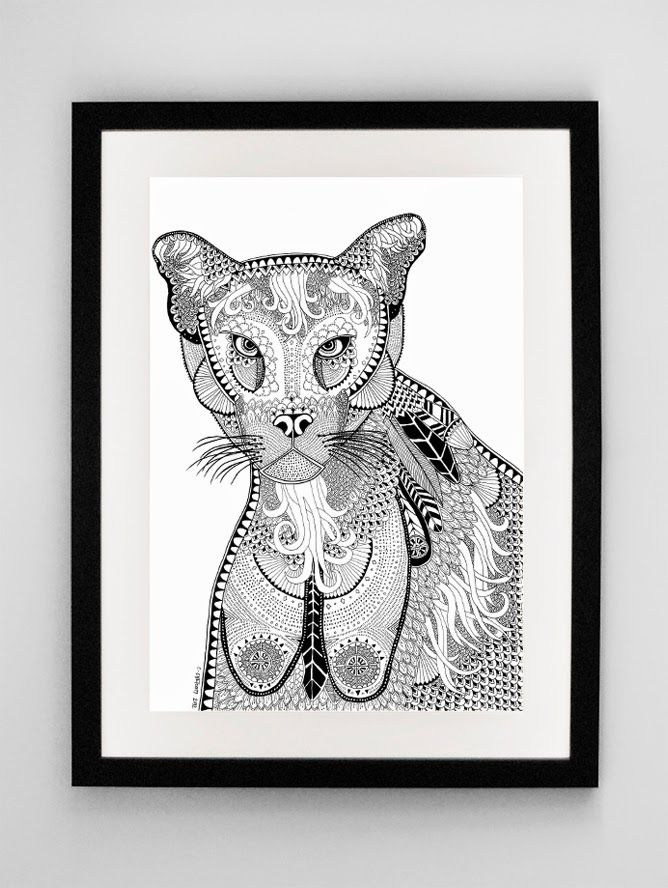 Lioness Illustration print by The Mouse and Me Designs