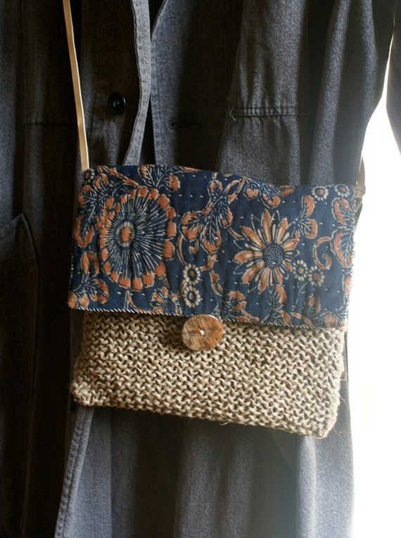 katazome/ small bag hand sewn and knitted in antique Japanese