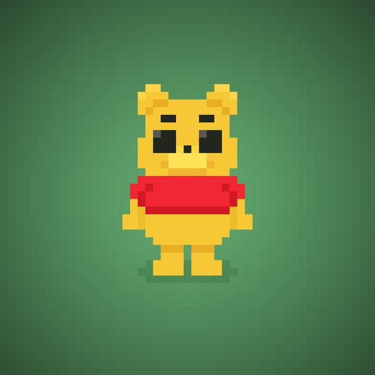 Famous Characters in Pixel Art • Winnie the Pooh or Pooh from Winnie the Pooh cartoons #winniepooh #pooh #bear #disney #toy #honey #cartoons #cartonianimati #thinkthinkthink #pixelart #pixel #16bit #orsettopooh #orsetto
