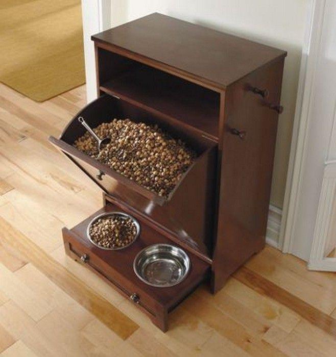 Dog Food Storage Cabinet With Bowls Slide In Drawer Hooks