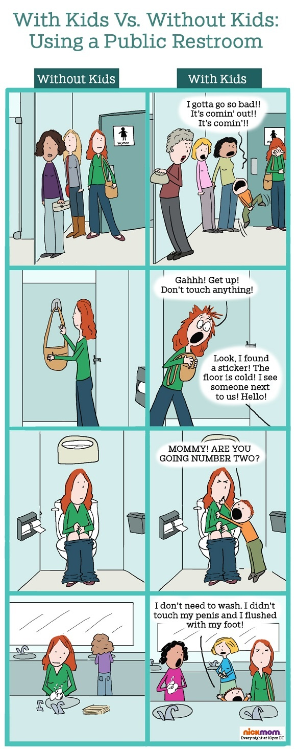 With Kids vs. Without Kids: Using a Public Restroom | Mom's Life | Did you ever experience this? Lol