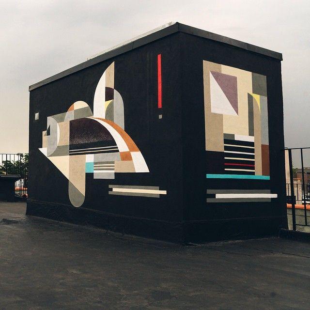 More details from my rooftop installation at @sugarlift New York. #sugarlift #bushwickopenstudios #sugarlift #art #geometric #abstract #rubin #rubin415 #graffiti #spraycanart #aerosol #abstract #spraypaint #nyc #newyorkcity #nystreetart #bkstreetart #brooklynstreetart #streetartnyc #nycstreetart #streetart #colors #mural #painting #graffuturism #instagrafite