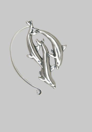 A Trio of Delightful Dolphins on this Sterling Silver Ear Wrap. This Fits Either Ear, Let us Know if you Have a Preference. EnviroWise. $68.00. a Unique Cuff! Designed and Hand-crafted in Solid Sterling Silver.. Our jewelry is made with reclaimed silver, saving the earth's natural resources.. Crafted by Hand in our USA shop. Thank you For Supporting American Business.. Sold as a single piece; This fits Either Ear. Please let us know your preference.. This Cuff ...