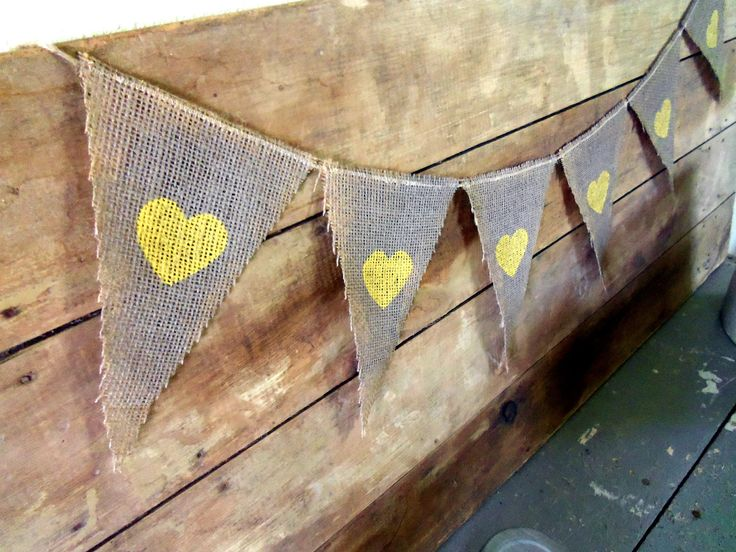 Grey and Yellow Hearts Wedding Banner Burlap / Photography Prop. $18.50, via Etsy.