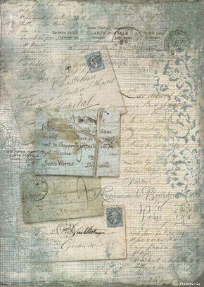 Rice Paper for Decoupage Decopatch Scrapbook Craft Sheet Vintage Blue Cards
